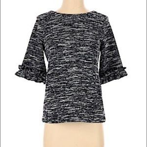 Banana Republic Ruffle 3/4 Sleeves Dark Navy Dress